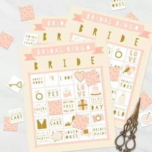 Print Off These Free Bingo Cards for An Easy Bridal Shower Game: Free Bridal Bingo Cards from Three Cheers + Co