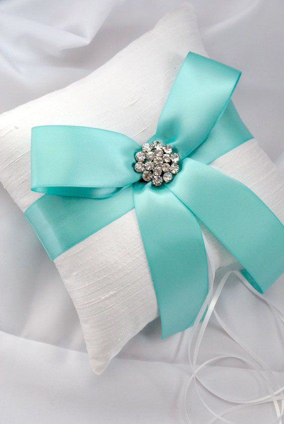 Superb Tiffany Blue Wedding Ring Bearer Pillow White by weddingsandsuch Love this but maybe