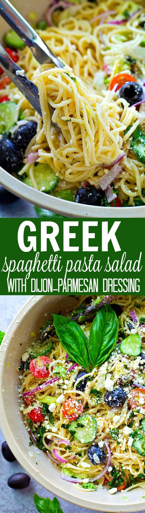 This loaded spaghetti pasta salad has ALL the Greek food lover's works! It's super-easy to throw together for a quick weeknight dinner or cookout side dish.