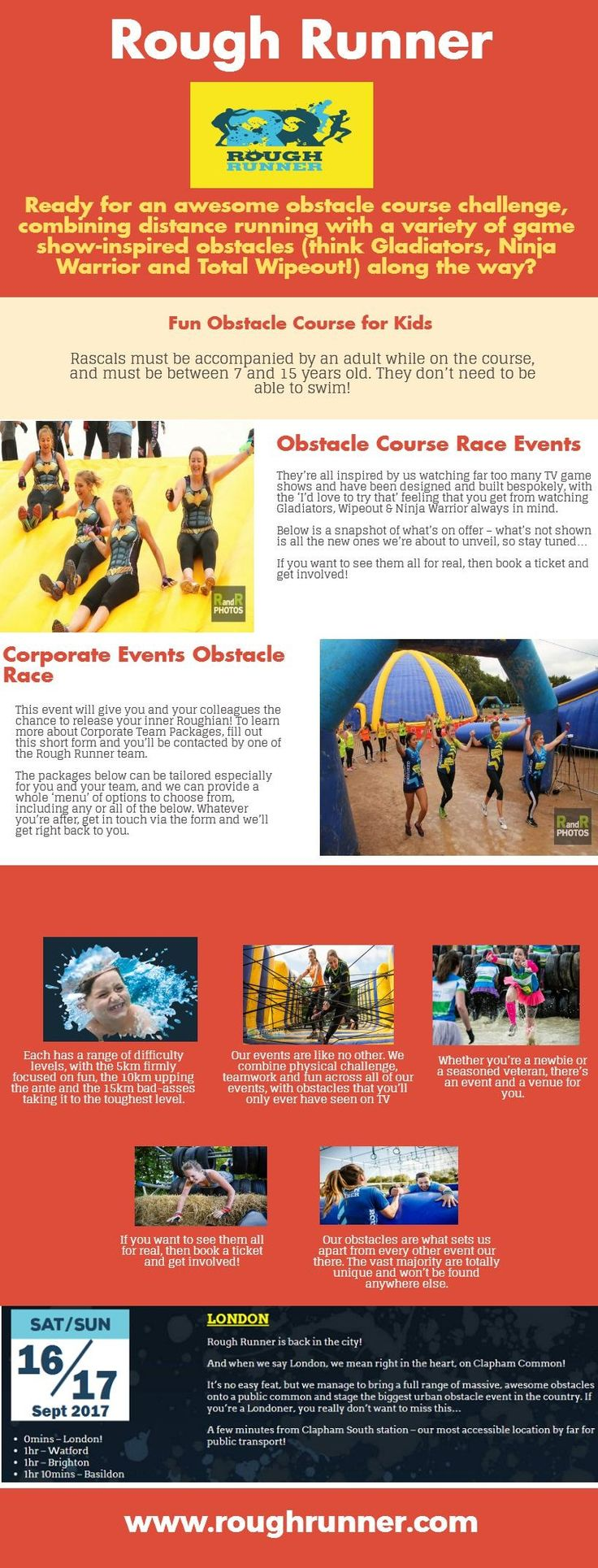 Obstacle Races and Mud Runs is a sport in which a participant, traveling on foot, must overcome various physical challenges that are in the form of obstacles. Mud and trail runs are united and the races are planned to result in mental and physical collapse. Book today at http://roughrunner.com/book/