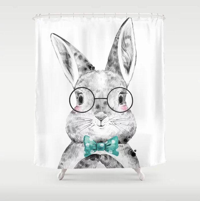 rabbit shower curtain bunny shower
