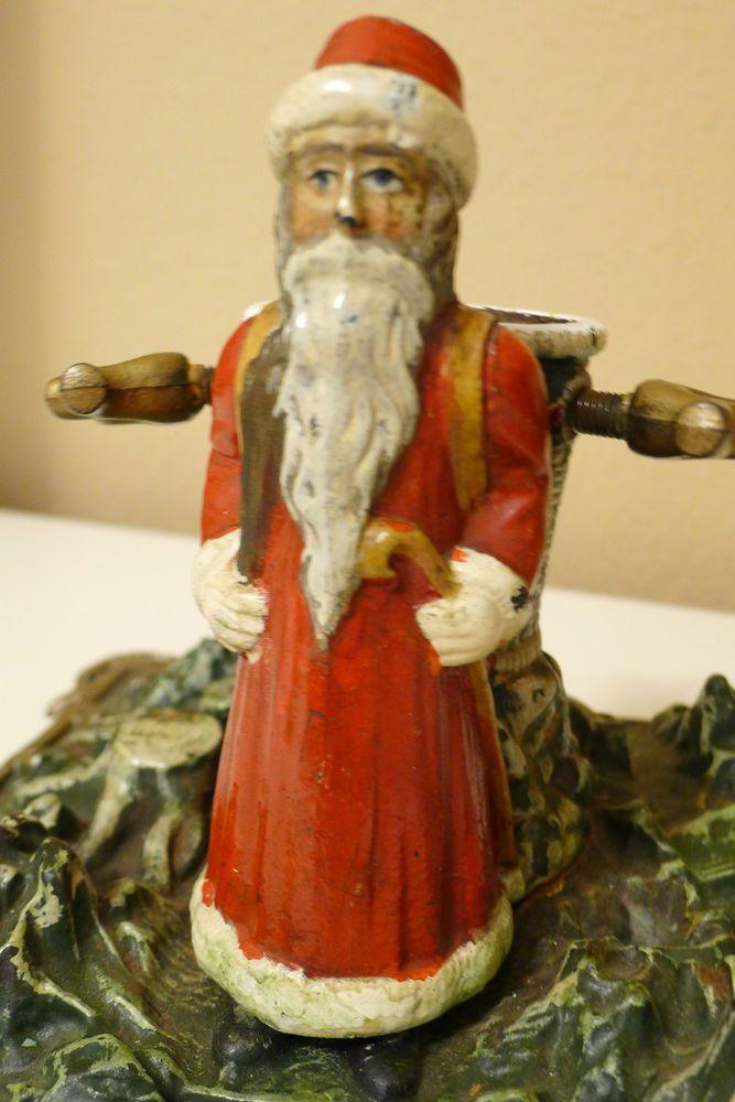 Antiker Christmas tree stand Christbaumständer mit Weihnachtsmann Figur
