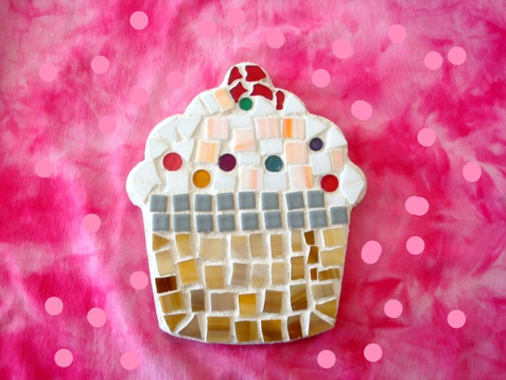 Yummy Cupcake Mosaic in Food & Art handmade by GIFTWARE on Etsy, $32.00