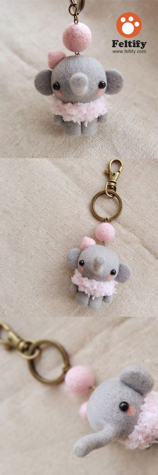 Needle Felted Felting Wool Animals Cute Elephant Craft