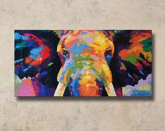 Bunte Elefanten malen 48cmH x 98cmW von SumareeART auf Etsy