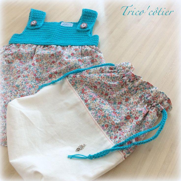 Robe pour petite fille au crochet et la couture pochon for Malette couture pour fille