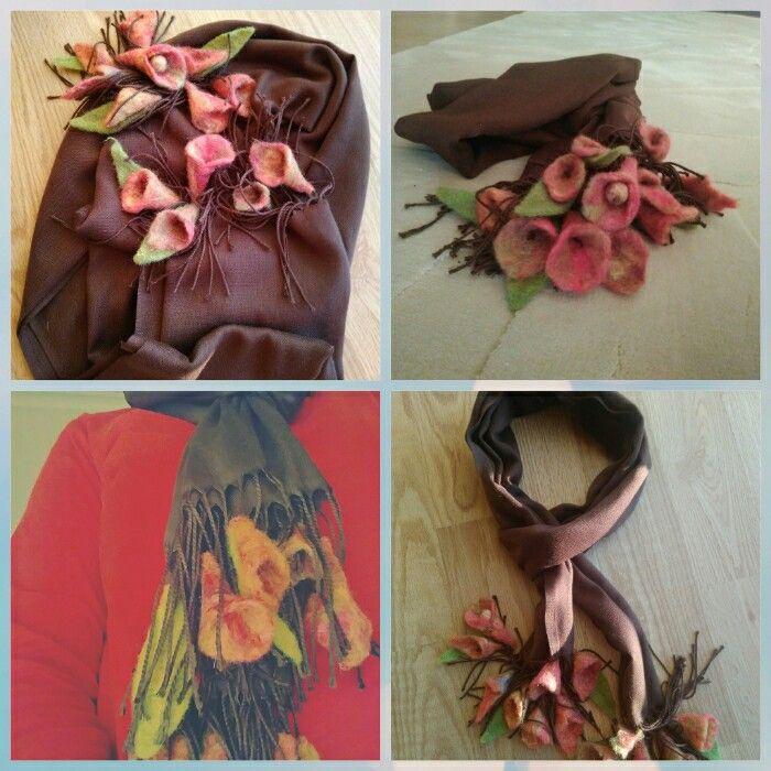 Islak keçe, wet felt, tekniği ile çiçek yaptım. Şalıma ekledim.