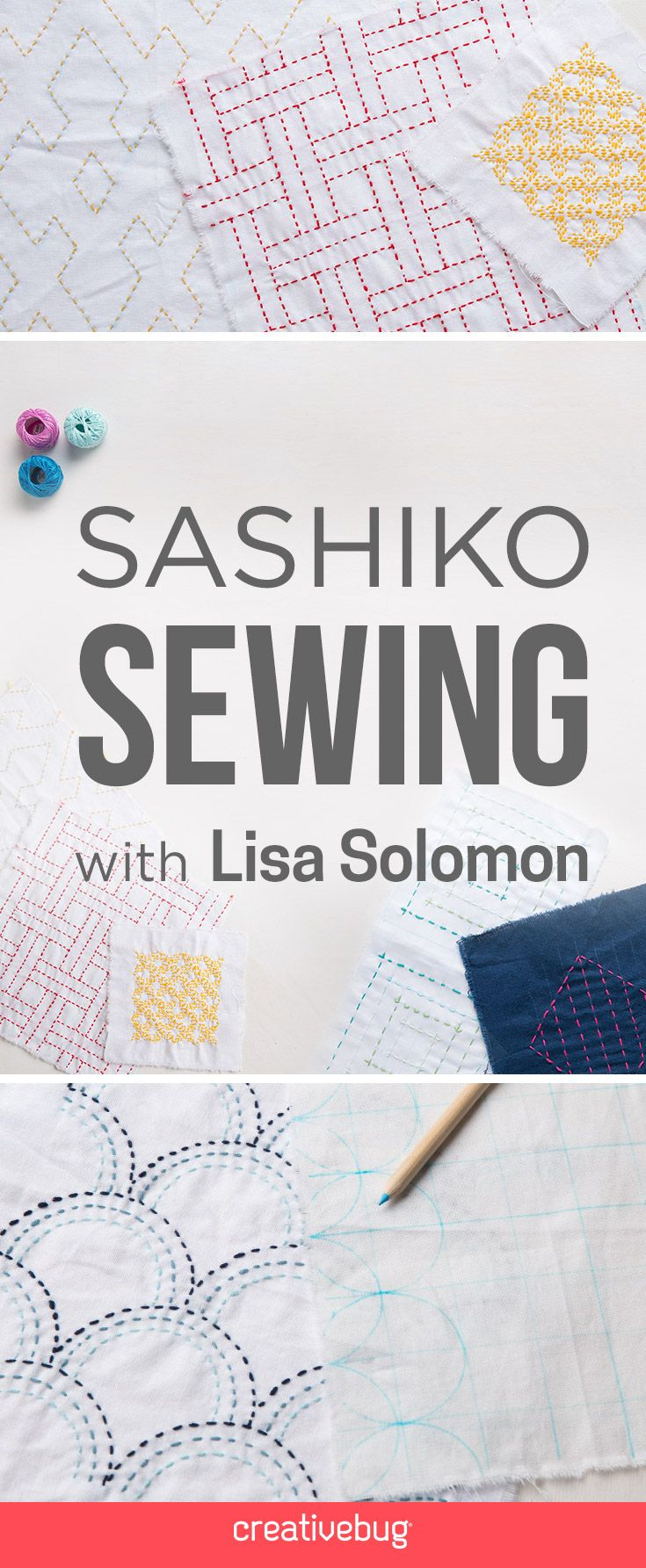 Sashiko Stitching class on CreativeBug - would be great to do with a free trial   affiliate #stitching #sashiko #tutorial #class #creativebug