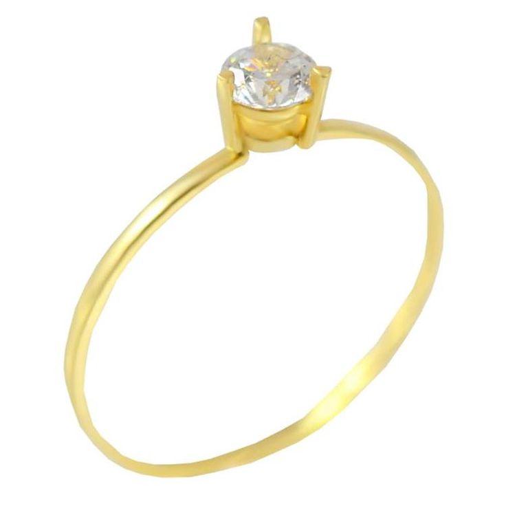 Μ169Ζ- Χρυσό μονόπετρο δαχτυλίδι