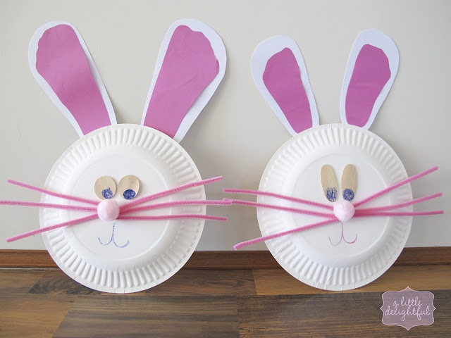 Paper plate bunnies. Use your kid's footprint to make the ears.