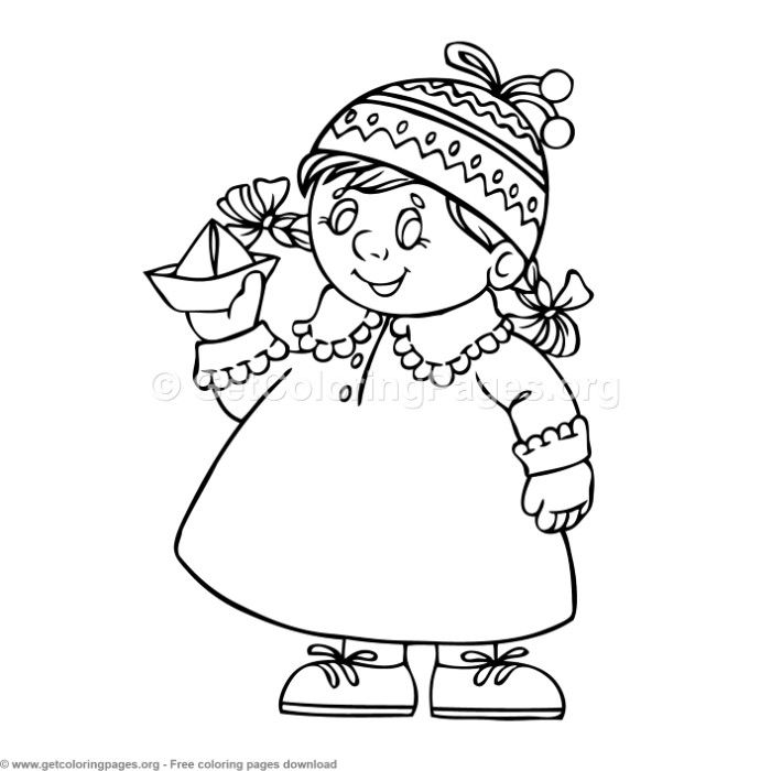 6 Children in Different Season Coloring Pages ...