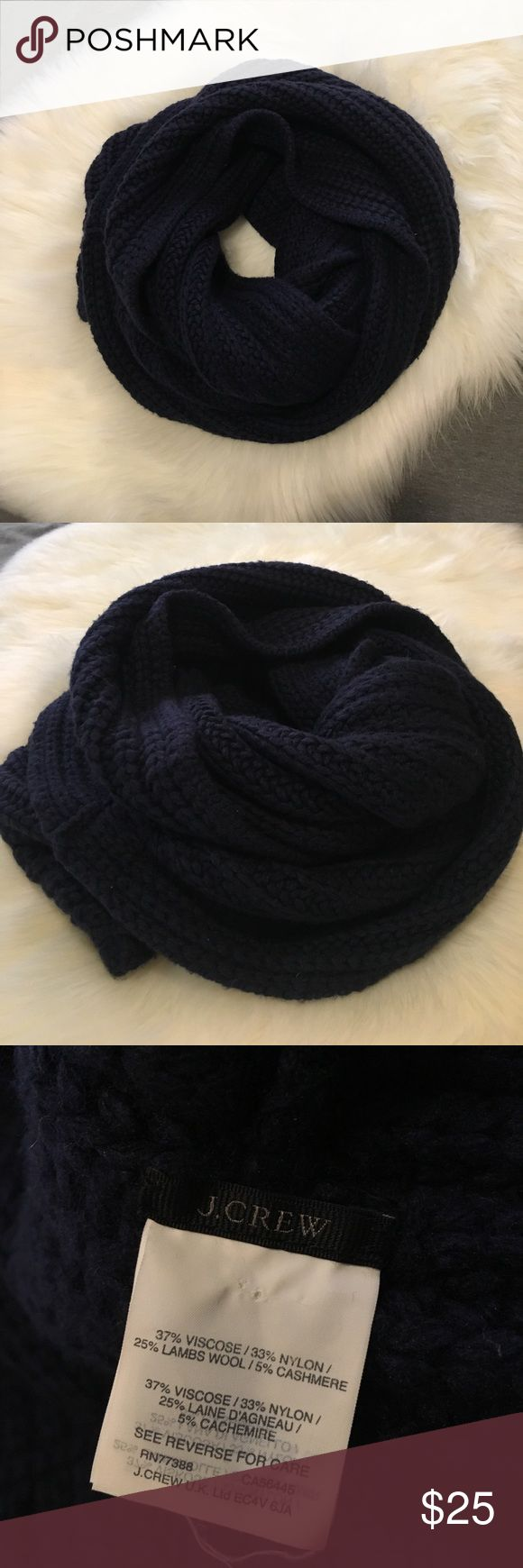 J. Crew Navy Wool/Cashmere infinity Scarf shawl Time to stock the closet with winter and Fall Favs! This one I love to death- bought it when I was in Seattle and it was colder than I thought it was gonna be! Haven't worn it since though (I live in Hawaii) I keep telling myself I'll take it on my next trip but I rarely got to places that are cold. Good pre owned condition. Worn for the week- that's it. Never washed but probably should (hand wash) cause it's been in my closet for some time…