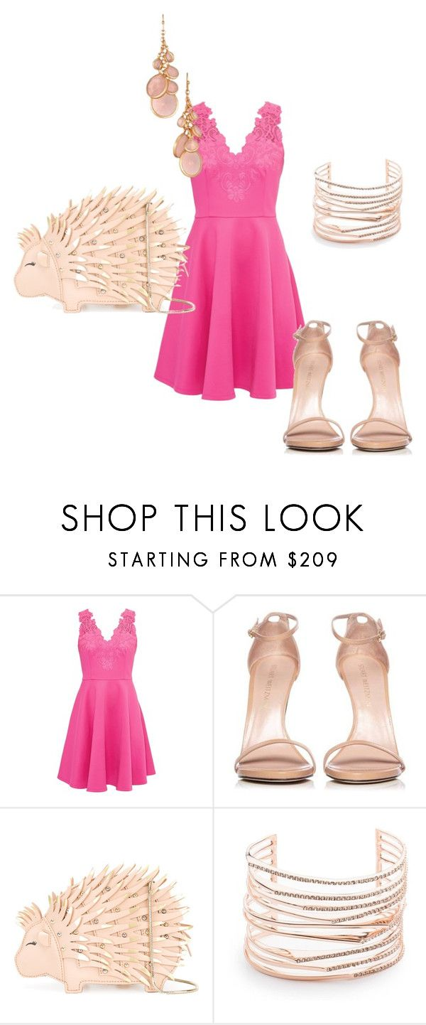 """Pretty in Pink"" by jmaeb ❤ liked on Polyvore featuring Ted Baker, Stuart Weitzman, Kate Spade, Alexis Bittar, Avon, Pink, shopping and polyvorestyle"