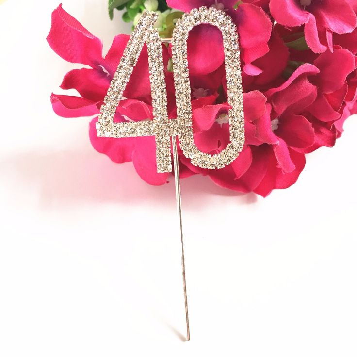 Happy 40th Birthday marriage Anniversary party decoration kits 5 cm Number 40 Rhinestone Crystal Cake Topper