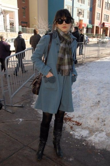 Zooey Deschanel Cute winter outfit - love the soft blue and grey paired with black boots.