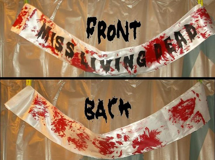 "NEW ! ZOMBIE PROM QUEEN ""Miss Living Dead"" SASH"