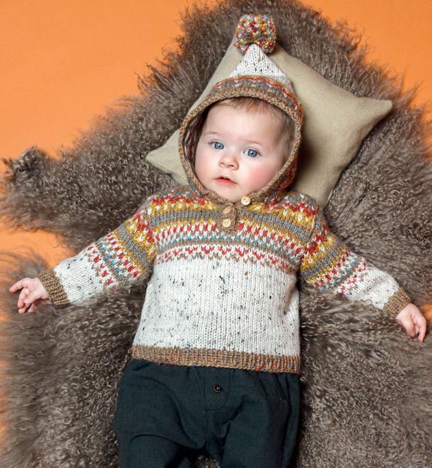 knitted hoodie for babies -Modèle pull à capuche pompon layette - Modèles…