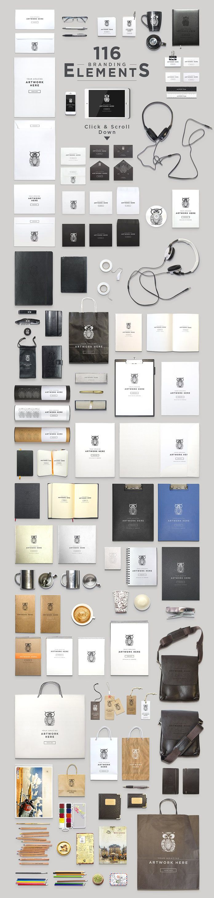 116 elements of brand and stationery materials.