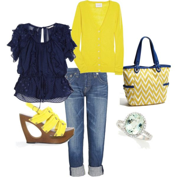 needed for spring: Colors Combos, Dreams Closet, Blue Shirts, Games Day Outfits, Blue Yellow, Bright Yellow, Spring Outfits, The Navy, Bags