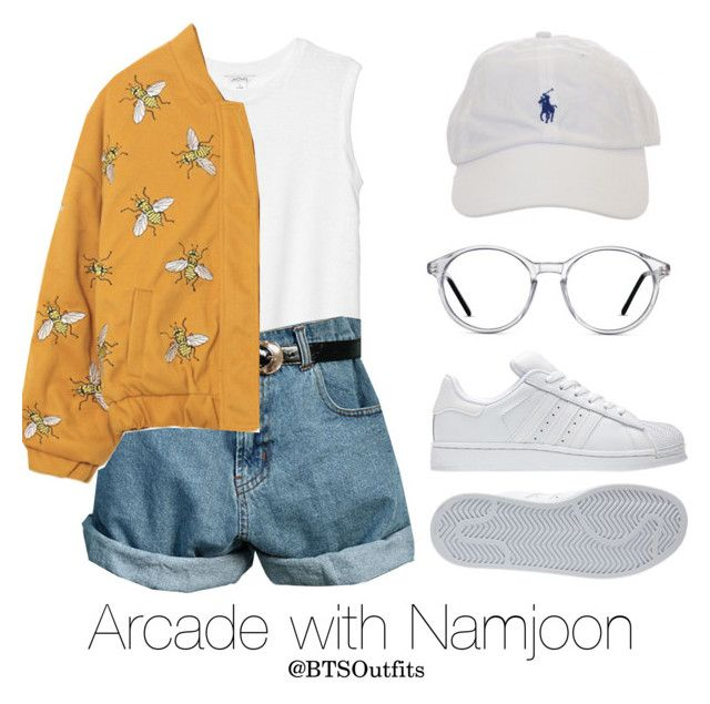 """""""Arcade with Namjoon"""" by btsoutfits ❤ liked on Polyvore featuring Monki, Retrò, adidas and GlassesUSA"""