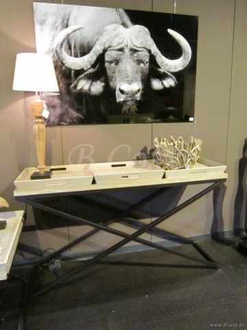 """PR Interiors Montevideo-Monteverd Console met zwarte smeedijzeren kruisen White Brushed Oak 140<span style=""""font-size: 0.01pt;""""> PR-Rogiers-Home-Interiors-CRW/388/20 console-wandtafel-table-de-drapier-table-murale-tables-de-drapier- </span>"""