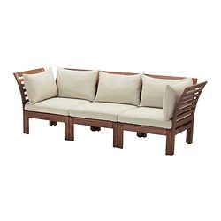 ÄPPLARÖ / HÅLLÖ 3-seat sofa, outdoor, brown stained brown, beige - brown stained/beige - IKEA
