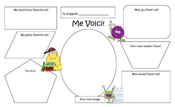 First Day of School - All About Me Templates in French and