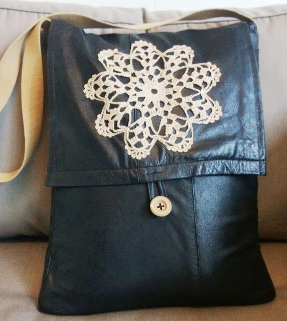 DIY laptop shoulder bag from old leather jacket. Tuunausta ...