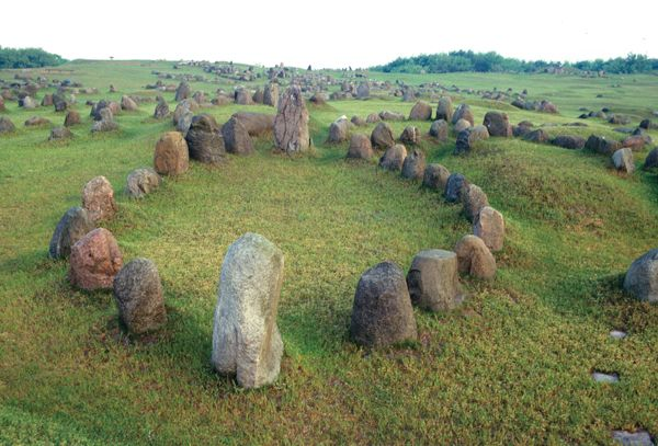 Sacred stone rings in Jutland. I like to think my ancestors may have danced around in these.