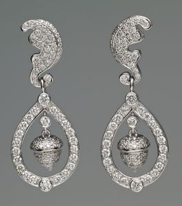 The Acorn and Oak-Leaf Earrings; worn by the Catherine, Duchess of Cambridge on her wedding day in 2011 to Prince William. In the Royal Collection.