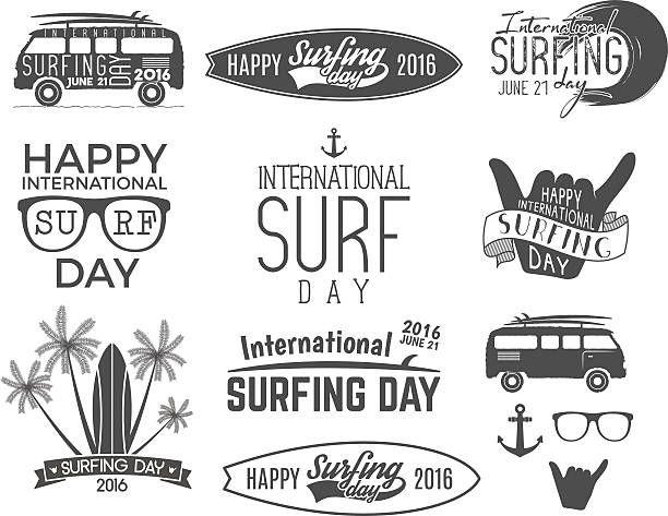 夏のサーフィン日グラフィック要素ですベクトルエンブレムが自慢の