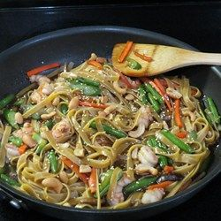 Easy Shrimp Lo Mein - Allrecipes.com -- Add 1 tsp sesame oil to sauce and another tsp to noodles to prevent sticking. Use snow peas and zucchini instead of broccoli. Omitted oyster sauce.