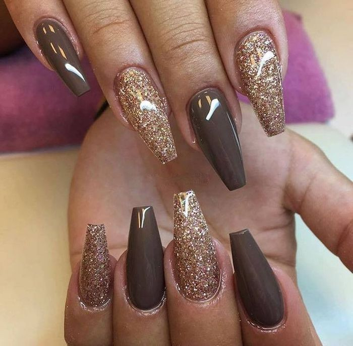 Coffin Nail Designs Smooth Dark Beige And Rose Gold Colored Nail Polish With Fine Glitter On The Eight Coffin Shape Nails Coffin Nails Designs Nail Designs