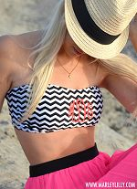 FMonogrammed Black & White Chevron Bathing Suit Bandeau Tube Top from Marley Lilly. Lots of cute monogram stuff!