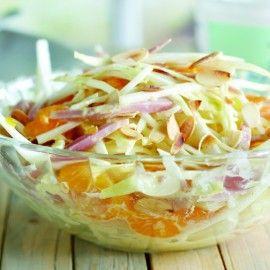 Witlofsalade met mandarijn en kwarkdressing