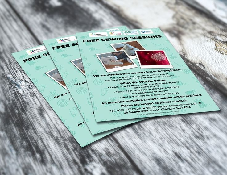SEWING SESSIONS – Beginner level for Free Sewing Sessions flyer or leaflets in green for Cook Grow Sew and Change and WSREC. #flyers #leaflets #printouts #sewing #sewingsessions #sessions #cook #grow #sew