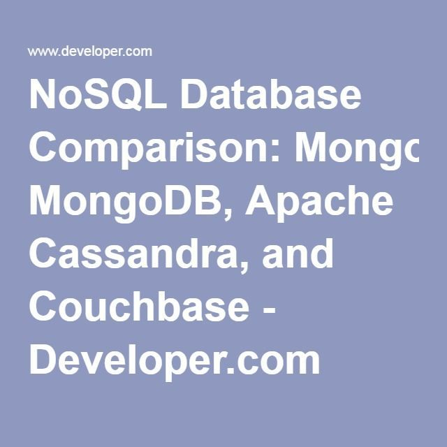 NoSQL Database Comparison: MongoDB, Apache Cassandra, and Couchbase. Taylor-made IT systems. Opus Online.