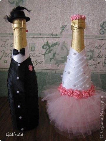 Декор предметов Свадьба Декупаж Свадебное шампанское и бутылочки Ленты фото 1