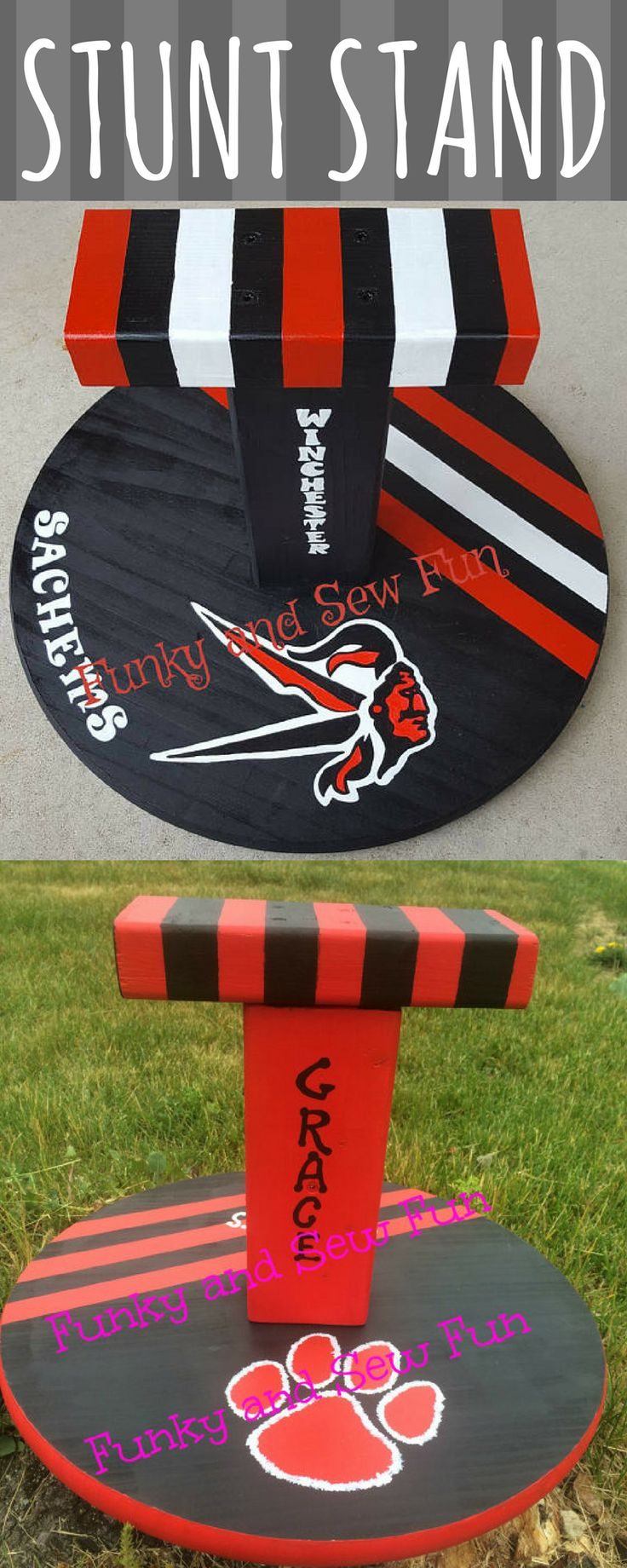 $65. Wooden custom cheer stand. Stunt stand personalized with your name, mascot, colors! Cheerleader gift. Flyer stunt practice stand. #cheerleading #ad