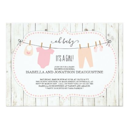 Girl's Baby Shower Invitation | Rustic Clothesline - calligraphy gifts custom personalize diy create your own