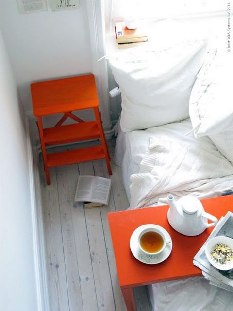//Breakfast In Beds, Step Stools, Colors, Beds Tables, Bedside Tables, Bedrooms Orange, Ikea, Gray Bedrooms, White Room