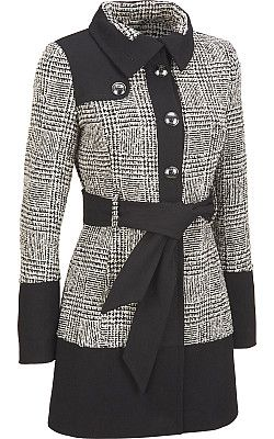 Black Rivet Wool Color Block Banded Bottom Jacket $129.99