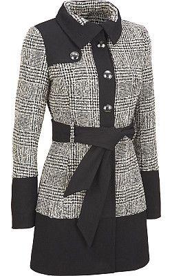 Black Rivet Wool Color Block Banded Bottom Jacket $129.99