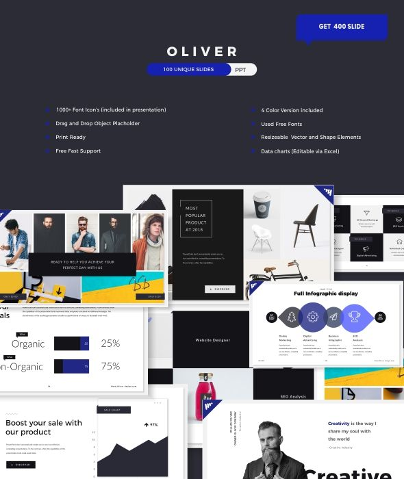 Oliver Business Powerpoint Template 画册 Pinterest Business