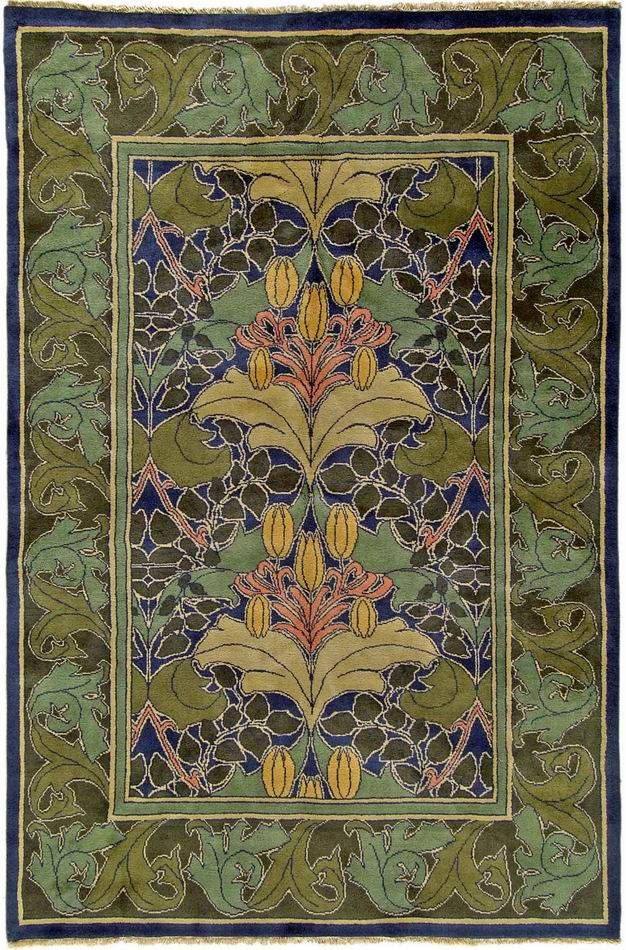 Arts & Crafts rug Voysey Lilly & Vine rug.  Gorgeous!$2,300 for 6 x 9 size.