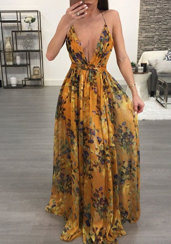 4c9e103ef796 Yellow Draped Spaghetti Strap Backless Deep V-neck Flowy Bohemian Vegas  Maxi Dress