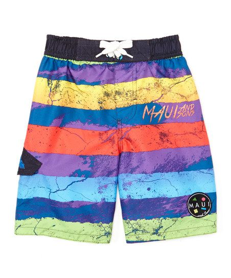 Blue Maui and Sons Stripe Swim Trunks - Toddler & Boys | zulily