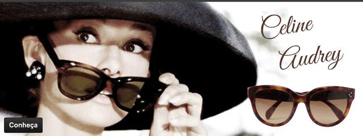 Audrey Hepburn, nossa eterna bonequinha de luxo, é referencia na criação do modelo que leva seu nome, produzido pela renomada grife Céline! Não é um luxo?! #lindo #oculos #de #sol #audrey #41755 #celine #moda #retro #vintage #sunglasses #oticas #wanny
