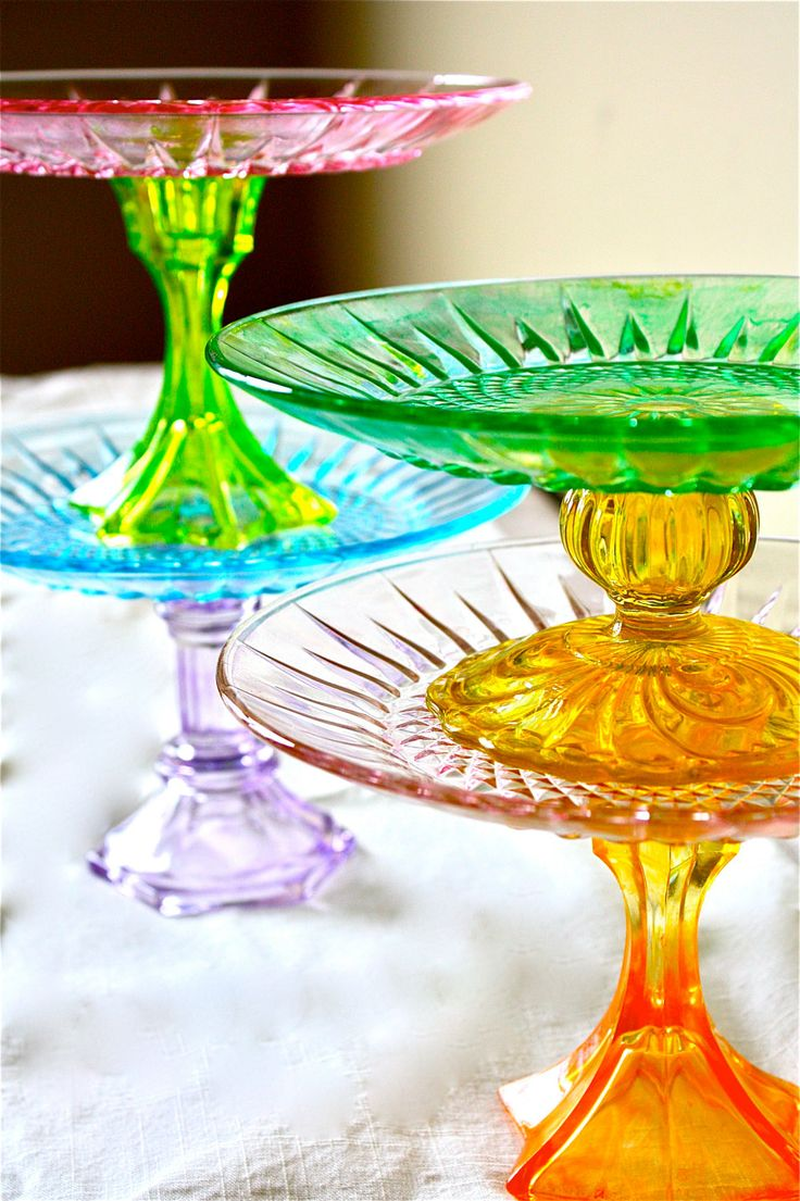 Cake plates -cake pedestals- cupcake stand-Jolly Rancher Candy Colors-circus theme-carnival theme. $28.00, via Etsy.