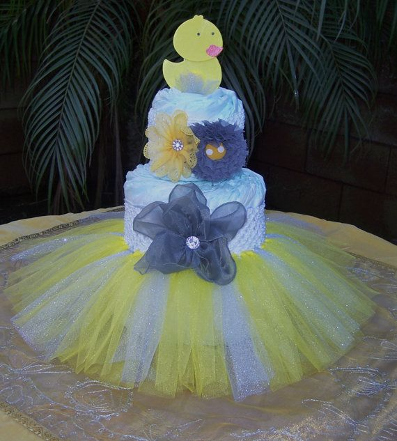 Duck Tutu Diaper Cake Kit Baby Shower Decoration by TheTUTUForest, $35.00